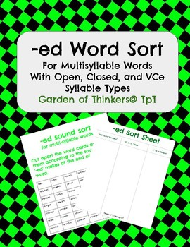 -ed word sort for multi-syllable words