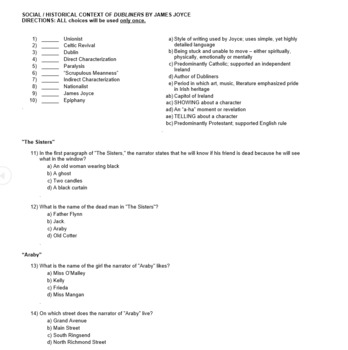(editable) DUBLINERS FINAL EXAM -- 3 VERSIONS OF EXAM -- WITH ANSWER KEYS