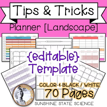 {editable} Planner Template Landscape Orientation
