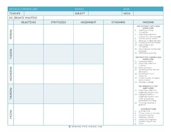 {editable} Weekly Lesson Plan Template
