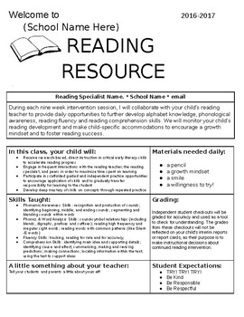 *editable* reading resource intervention syllabus/ letter to parents