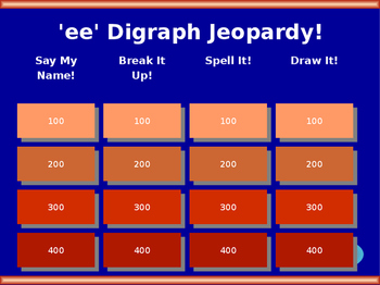 'ee' Vowel Digraph Jeopardy!