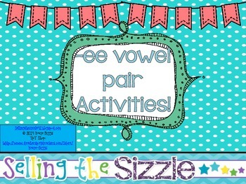 -ee Vowel Pair Activities!