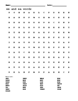 """""""ee"""" and """"ea"""" Long """"e"""" word search"""