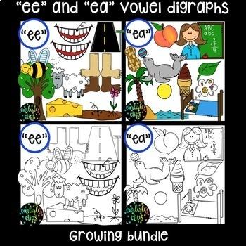 """ee"" and ""ea"" vowel digraphs clipart growing bundle"