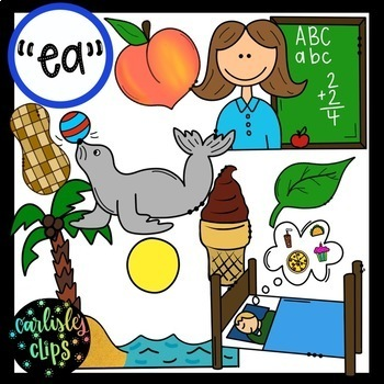 -ee/ea AND ai/y digraphs clip art bundle