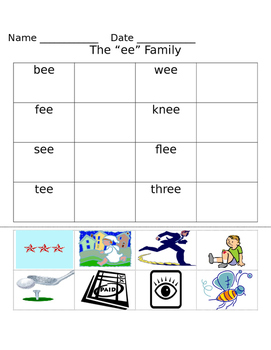 -ee word family worksheets
