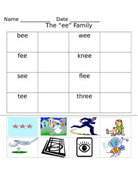 -ee word family worksheets