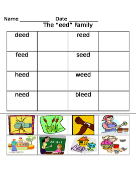 -eed word family worksheets