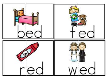 -eg, -ed, -eg word family activity set