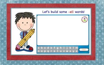 -ell Word Family Chunk Lesson-Smart Board –10 slides-Interactive-Grades PreK-3