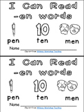 -en Word Family Emergent Reader Kindergarten with Pocket Chart Cards & More
