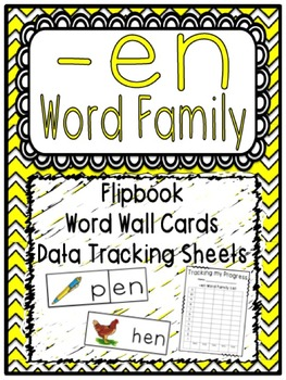 -en Word Family Flipbook, Word Wall Cards and Data Tracking Sheets!