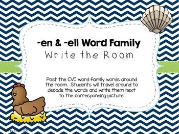 -en & -ell Word Family Write the Room