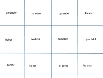-er and -ir verb game spoons