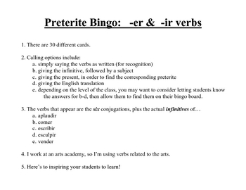 -er, -ir BINGO preterite; 30 different cards