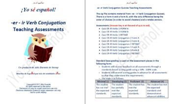 -er -ir Verb Conjugation Quizzes Teaching Material