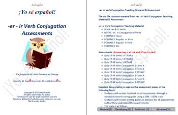 -er - ir Verb Conjugation Teaching Material & Assessment