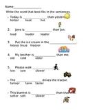 -er suffix worksheets--medium & hard