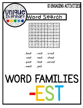 -est Word Families Pack NO PREP