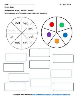 """et"" Color Spin!  Short e Word Family Work"