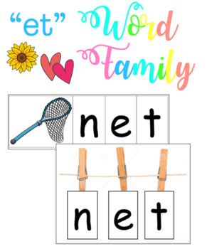 -et Word Family - Clothespin Spelling (Literacy Center Activity)
