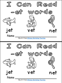 -et Word Family Emergent Reader Kindergarten with Pocket Chart Cards & More