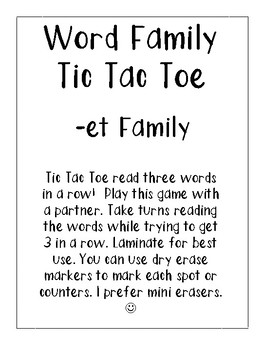 -et Word Family Tic Tac Toe