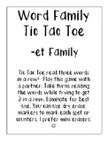 -et Word Family Tic Tac Toe