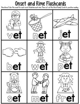 -et Word Family Worksheets