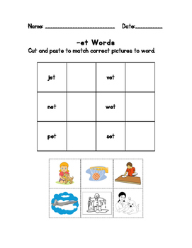 -et Words Matching Sheet *Freebie*