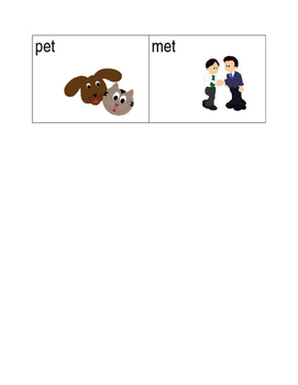 -et and -ig word family picture sort