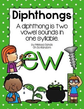 -ew Diphthong Anchor Chart & Practice {Click File, Print}