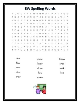 -ew Spelling Pattern Word Search