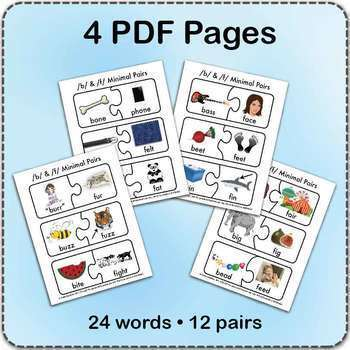 /f/ & /b/ Minimal Pairs Jigsaw Puzzles - Speech Therapy Activity Game