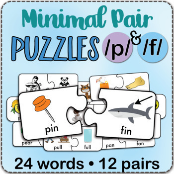 /f/ & /p/ Minimal Pairs Jigsaw Puzzles - Speech Therapy Activity Game