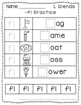 -fl Blend Anchor Chart & Practice {Click File, Print}