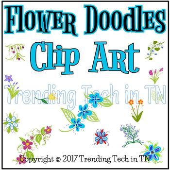 Hand Drawn Clip Art - Flower Doodles for Use in Digital Resources
