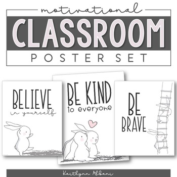 Motivational and Cute Classroom Posters (Bunnies Theme)