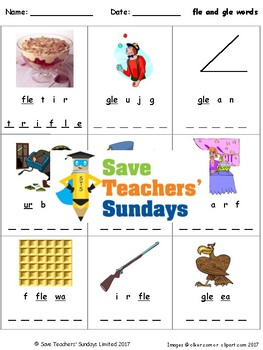 -fle and -gle words lesson plan, worksheets and other teaching resources