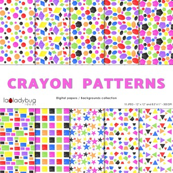 Geometric shapes patterns, crayon filled bright colors digital papers