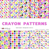 Geometric shapes patterns, crayon filled bright colors dig