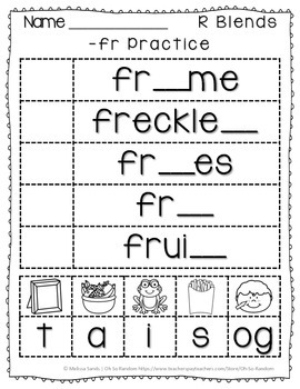 -fr Blend Anchor Chart & Practice {Click File, Print}