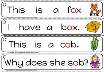 cvc sentence strips -short o