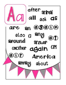 High Frequency Words Alphabet
