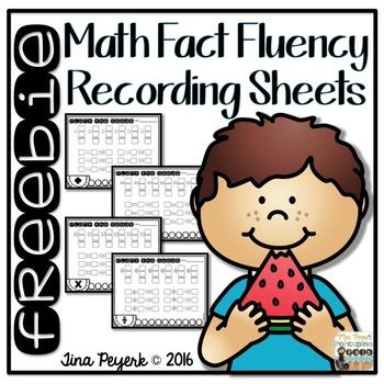 {freebie} Math Fact Fluency Recording Sheets