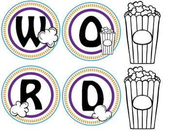 *freebie* Popcorn Word Wall Labels