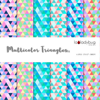 12 Multicolor triangles digital papers. Bright color backgrounds
