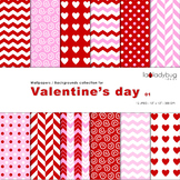 Valentine's day digital papers. Backgrounds. Wallpapers.