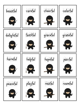 -ful and -ly Word Card Game: Ninja Chop